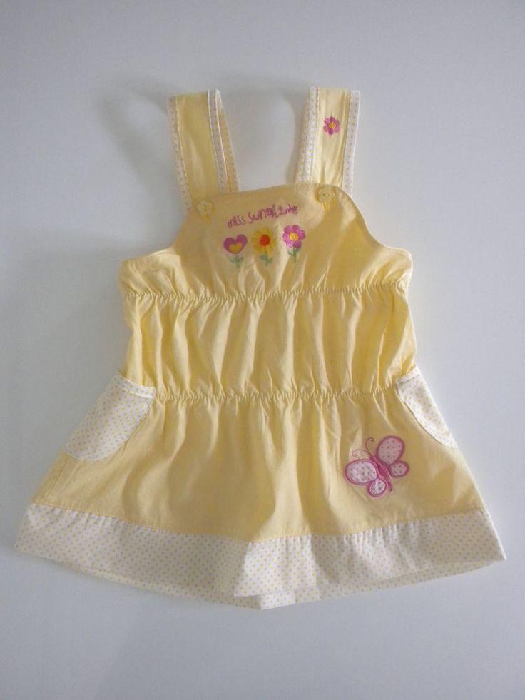 Robe 12 18 mois jaune bébé fille à bretelles plage été volants Miss Sunshine