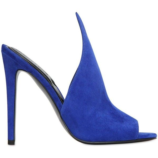 Kendall+kylie Women 110mm Essie Suede Mule Sandals ($170) ❤ liked on Polyvore featuring shoes, sandals, royal blue, royal blue shoes, open-toe mules, high heel sandals, open toe mules and open toe mule shoes