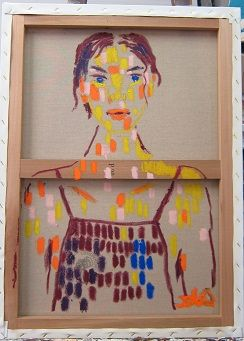 여인 1708 A woman 1708/ Oil stick on back side of canvas/ 32x32cm/ 2017