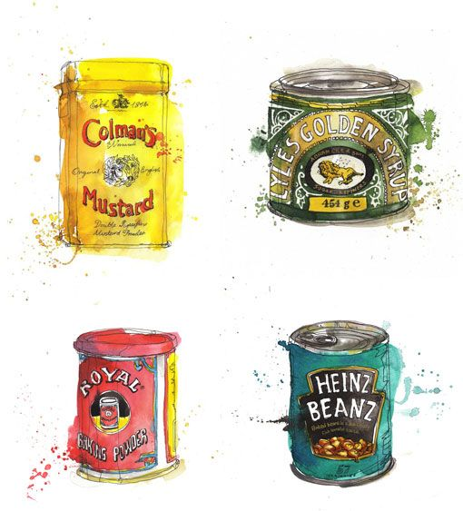 LOve these! Great water color & pen illustrations of old packaging