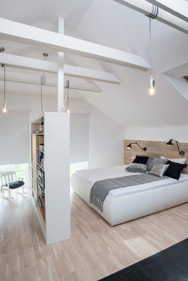 Simple partition in an open space attic.