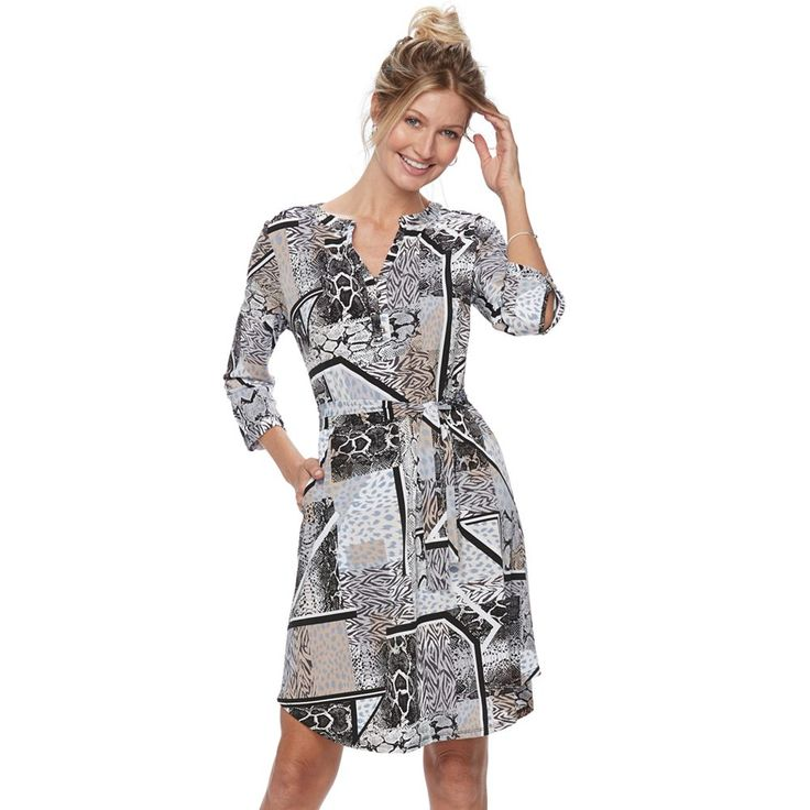 Women's Dana Buchman Shirtdress, Med Beige