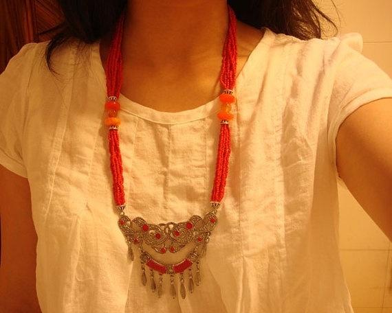 Handmade Nepalese Tibetan coral beads pendant by nepalesejewelry, $17.99