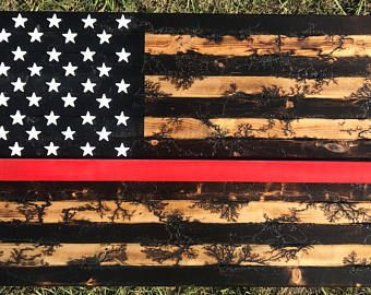 Fracture Burned Thin red line American Flag
