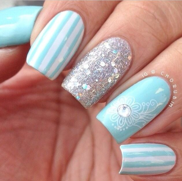 84 best nails images on pinterest make up colours and dresses light blue nail art prinsesfo Images