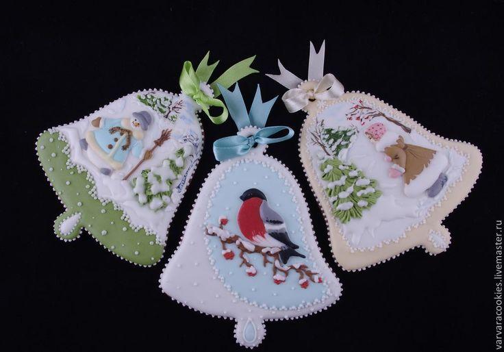 Купить Пряничные новогодние колокольчики - пряничный колокольчик, пряничная открытка, новогодний подарок, подарок на новый год