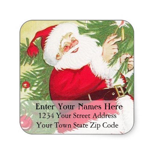 Vintage santa claus christmas return address label square sticker