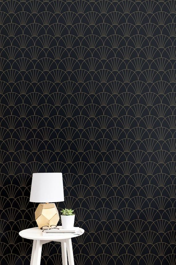 Black Gold Geometric Peel And Stick Wallpaper Tile Etsy Wallpaper And Tiles Self Adhesive Wallpaper Accent Wall