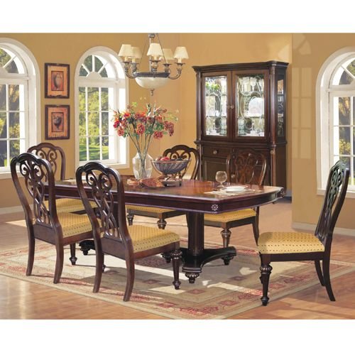 The Castle Dining Group By RiversEdge Features Crafted In Hardwood Solids  And Oak Veneers Accented In A Rich Brown Finish.
