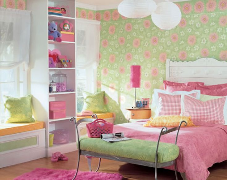 Flowers Wallpapers and Pink Beds Furniture in Small Teenage Girls Small  Bedroom Interior Decorating Designs Ideas. 12 best Wallpapers images on Pinterest   Bedroom  Bedroom