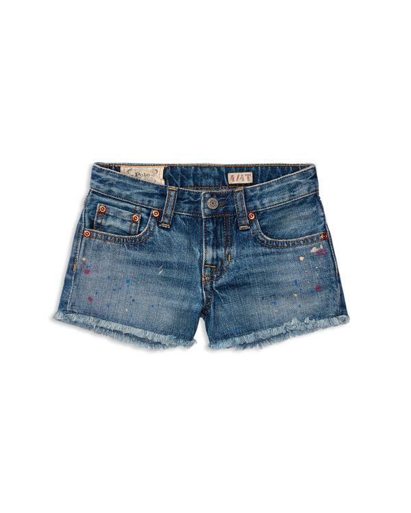 Ralph Lauren Childrenswear Girls' Paint Splatter Jean Shorts - Sizes 2-6X