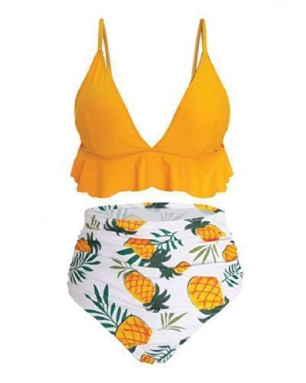 Fun Pineapple High Waisted Bikini – Retro swimsuits for teens #bathingsuits #hig…