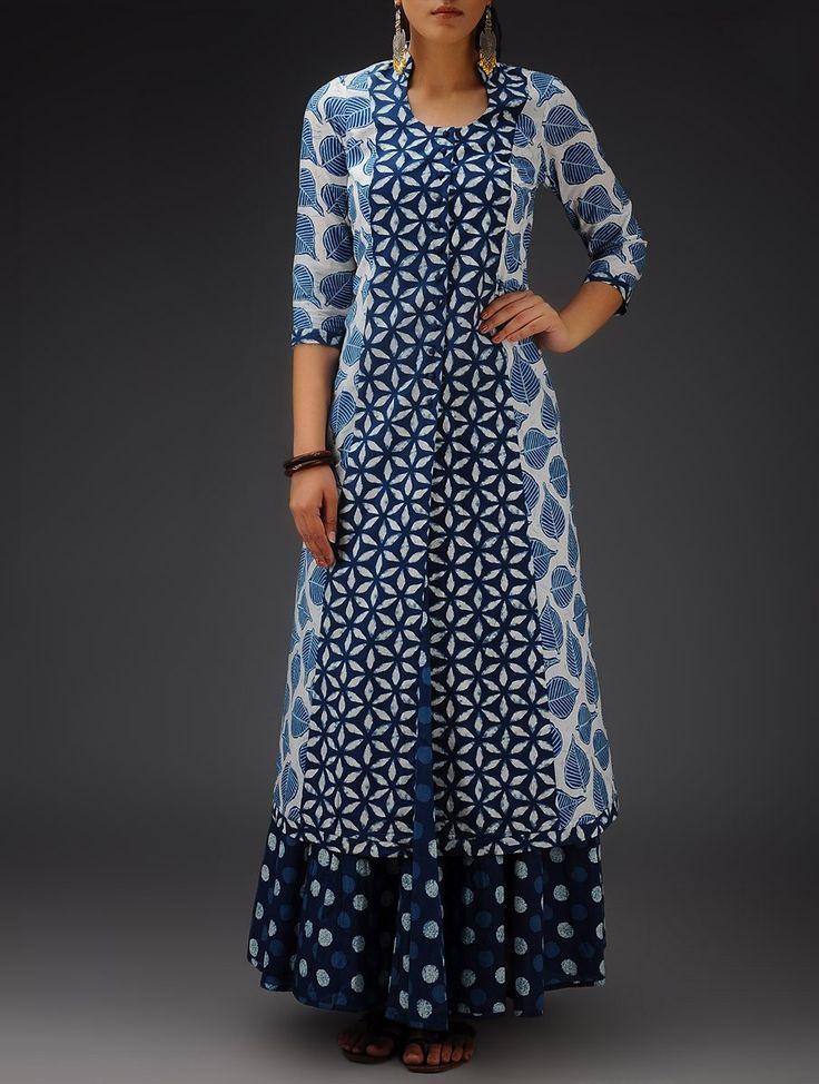 Buy Indigo White Printed Bias Cut Cotton Jacket Online at Jaypore.com