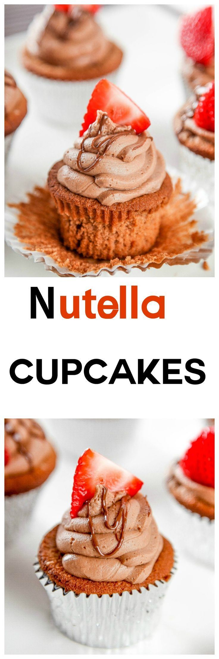 Easy Nutella Cupcakes with Nutella Buttercream: Rich chocolate cupcakes topped a creamy dreamy Nutella buttercream. If you like Nutella you'll love these cupcakes!