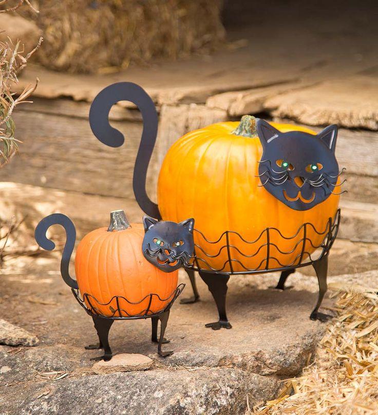 set of 2 cat pumpkin holders with led eyes entryway cats pajamas halloween slumber