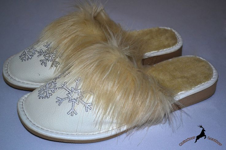 Snowy White Winter Slippers For Her