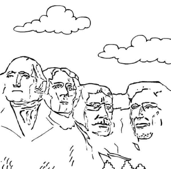 patriotic coloring pages mount rushmore - photo#12