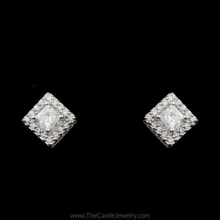 Princess Cut Diamond Stud Earrings with Round Diamond Halo in 14K White