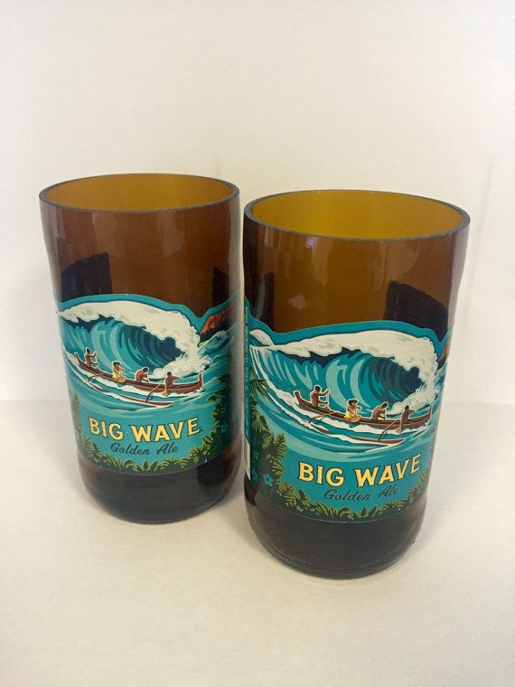 Kona Beer Bottle Tumbler Drinking Glasses. Big Wave. Hawaiian Beer Bottles.