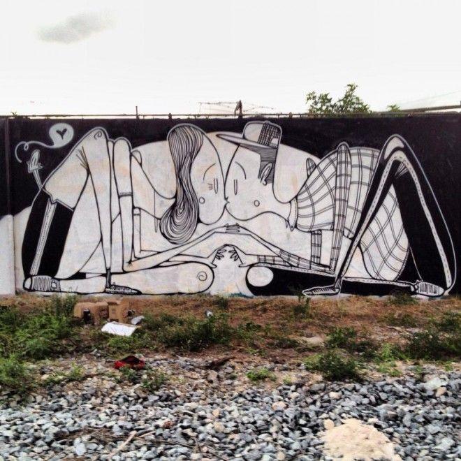 L'artista brasiliano Alex Senna porta i suoi cuori in giro per i muri del mondo. La sua street art - prevalentemente in bianco e nero - ha come soggetti coppie che si baciano, abbracciano o tengono per mano, ma anche momenti tra amici ed emozioni. L'autore ha realizzato nuove e romantiche illustrazi