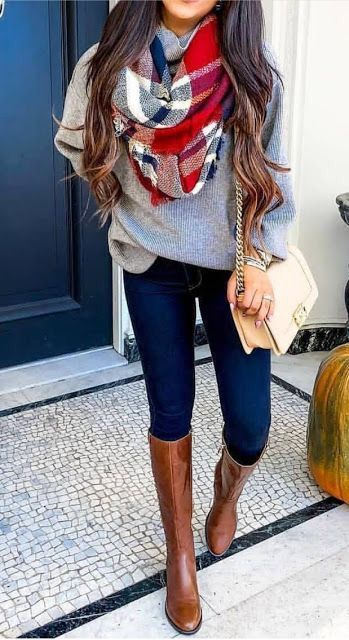 Amazing 20 Gorgeous Fall Scarf To Wear ASAP. Chic cozy grey sweater fall outfits street …