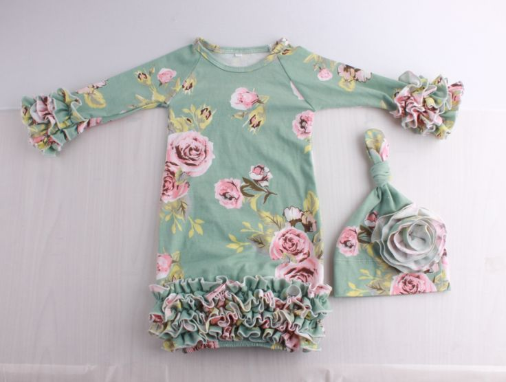 Ice Green and Dusty Rose Vintage Floral Long Sleeve Sleep Bag/Sack