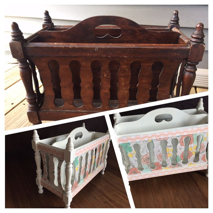 Before/after decoupage magazine rack