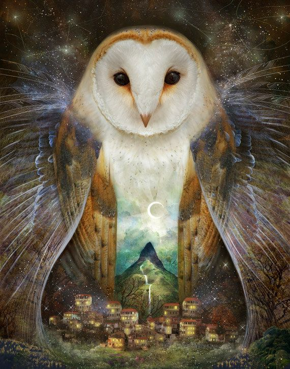 Owl, Mountain, Moon - 11X14 print | large wall art, woodland wall art, owl artwork, owl spirit animal magic, witch pagan art  | by Meluseena