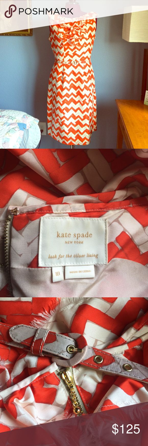 Kate Spade Dress Beautiful Kate Spade dress in orange and creme. Ruffled edge, lined sheath, layered anti-snag zipper and buckled belt. Worn 1 time! In perfect condition except for the small spot on the skirt as shown in the picture, very likely can come out with treatment I am just unsure as how to treat 100% silk kate spade Dresses