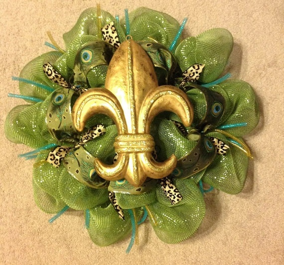 Fluer de Lis: Wreaths Fall, Summer Wreaths, Fall Wreaths, Animal Prints, Spring Wreaths, Mesh Wreaths, Fleur De Lis, Green Deco, Leopards Animal