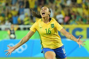 Joy for the Olympic hosts after Beatriz scores for the Brazil during their women's group E first round match against Sweden at the Olympic…