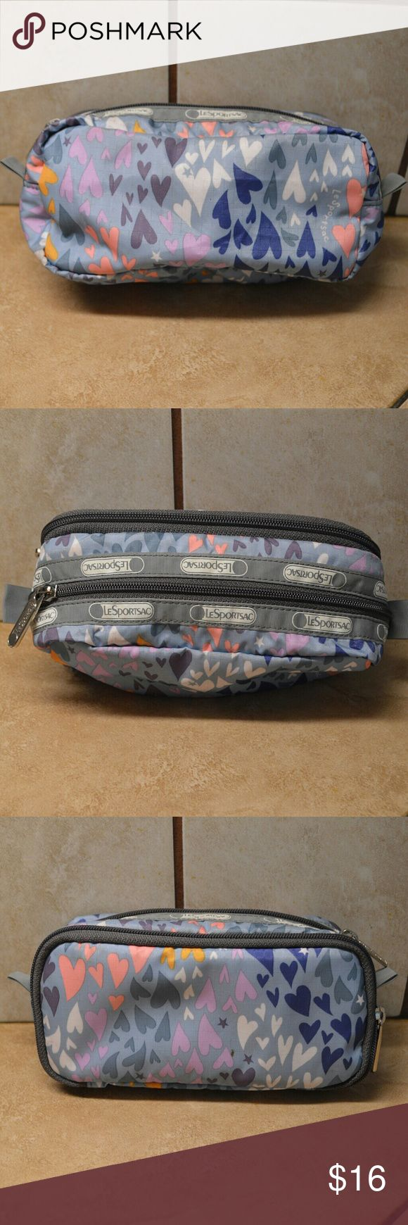 LeSportSac Pastel Hearts Makeup Bag Adorable mini Cooper zipper pouch from Le Sport Sac. Several zip compartments on this travel bag.  Great condition. LeSportsac Bags Cosmetic Bags & Cases