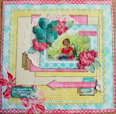 005 A Sunny Layout with Petaloo Flowers & Utopia (AUTHENTIQUE