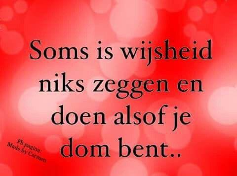 Soms is wijsheid niks zeggen en doen alsof he dom bent ...