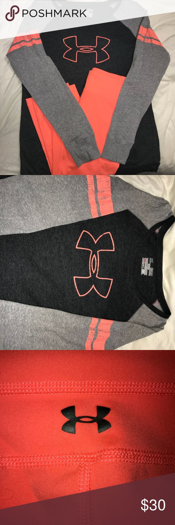 Under Armour long sleeve shirt with coral capris Under Armour medium gray, coral and white long sleeve baseball tee with matching medium coral Capri leggings Under Armour Other