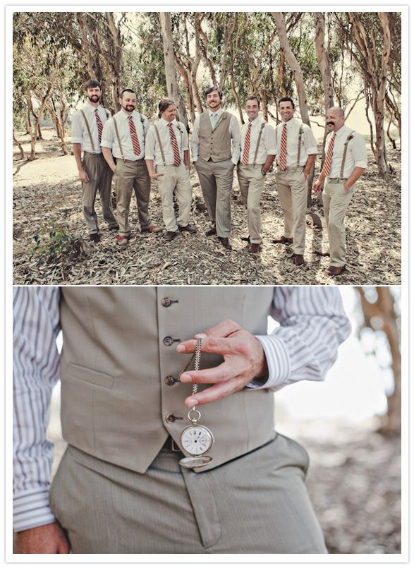 I like the groom w/ vest and groomsmen with suspenders, but with a different color scheme.