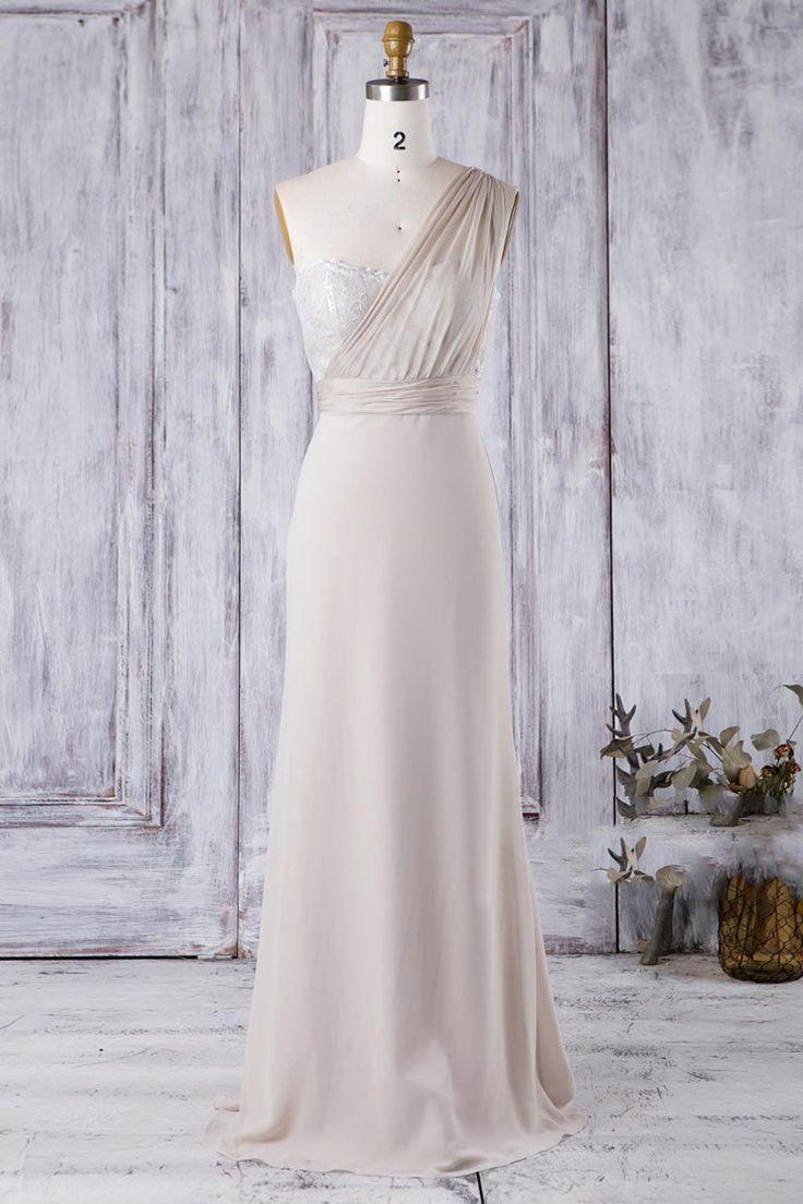 Lace One Shoulder ärmellose lange feste Hülle Chiffon Brautjungfer Kleid - JoJoBride #Brautjungfer #Hochzeit #BrautjungferKleid #Homedecor