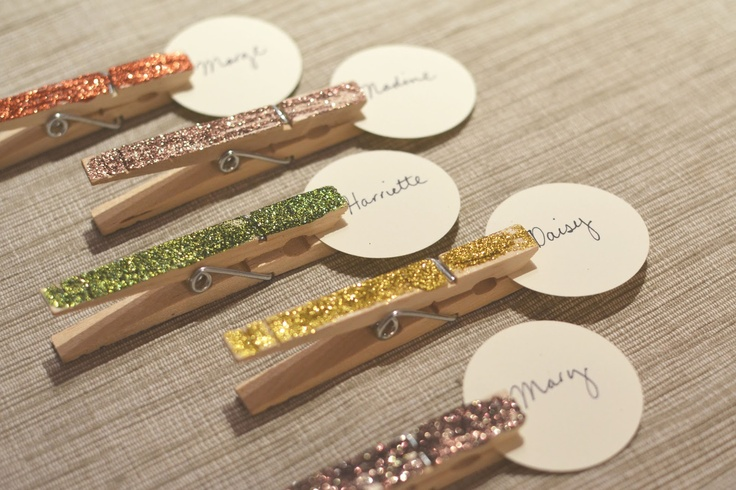 glittered clothespin place cards