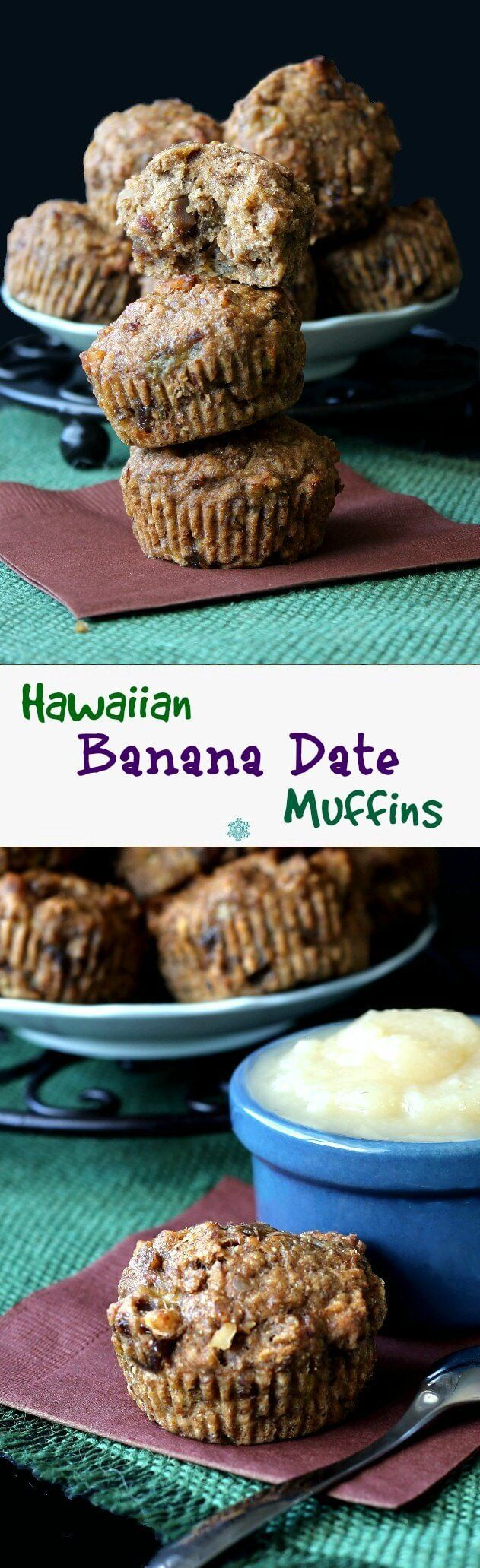 Hawaiian Banana Date Muffins are so moist and have some of everyone's tropical favorites. Just mix and bake and you'll be feeling the ocean breeze in no time.