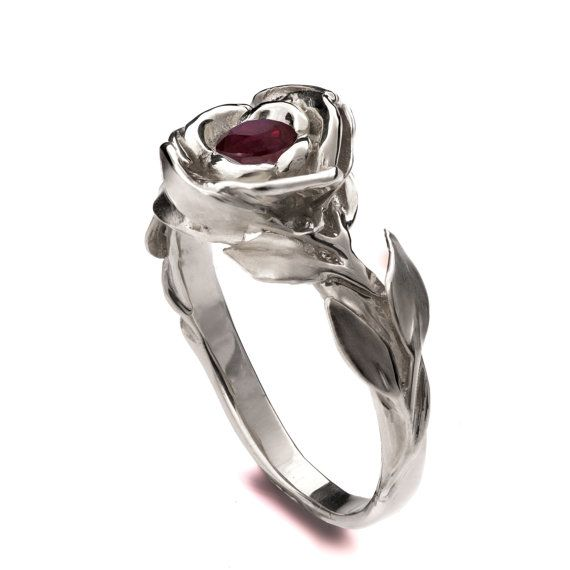 Rose Engagement Ring – 18K White Gold and Ruby engagement ring, unique engagement ring, leaf ring, antique, July Birthstone, Ruby, 1