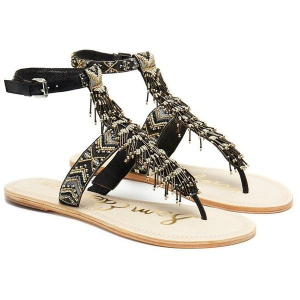 Sam Edelman Alara Beaded Leather Ankle Strap Sandals (216.030 COP) ❤ liked on Polyvore featuring shoes, sandals, beaded sandals, sam edelman sandals, t strap shoes, aztec shoes and ankle wrap sandals