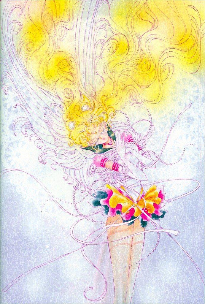 """Eternal Sailor Moon (Usagi Tsukino) draped in ribbons strands of pearls from """"Sailor Moon"""" series by manga artist Naoko Takeuchi."""