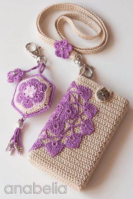 Crochet smartphone cover, keychain and neckband by Anabelia.  No pattern - just beautiful crochet items to inspire !