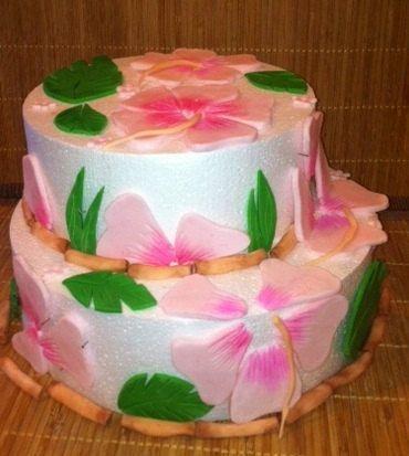 Hawaiian Luau Cake Kit, for a 2 Tier cake,  Hibiscus flowers, fondant, Gum Paste,  Birthdays, Baby Shower, Weddings, Baby Reveal, Cake,