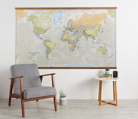Huge Classic World Map Poster Wooden Hanging 77 5 X 46 Vintage Elegant Home Decor Home Bedroom Living Room Map Of The World World Map Poster Globe Decor Wall Decor