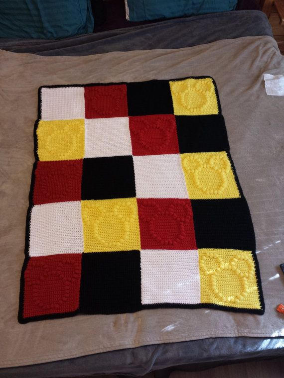Mickey Mouse Themed Crochet Bobble Blanket by WishWellBoutique