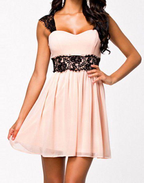 Sexy Sweetheart Collar Sleeveless Spliced Lace Embellished Women's Dress