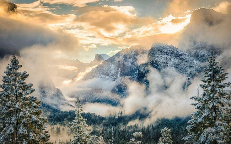 горы, национальный парк, лес, дымка