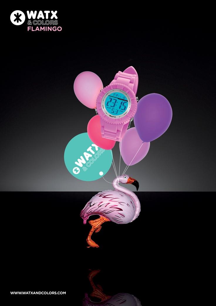 WATX & COLORS Flamingo: Relojes de colores tendencia con esferas y correas intercambiables. ¡Más de 100 combinaciones diferentes para estrenar reloj cada día!