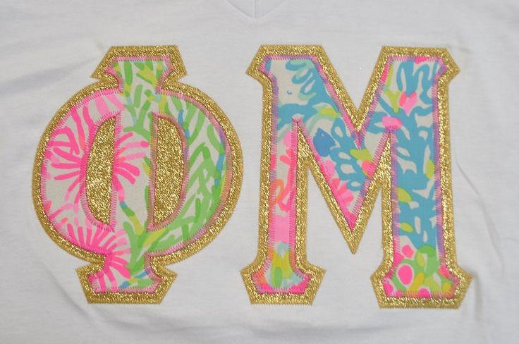 Phi Mu Stitched Lettered Short Sleeve V-Neck Shirt by NowGreek on Etsy